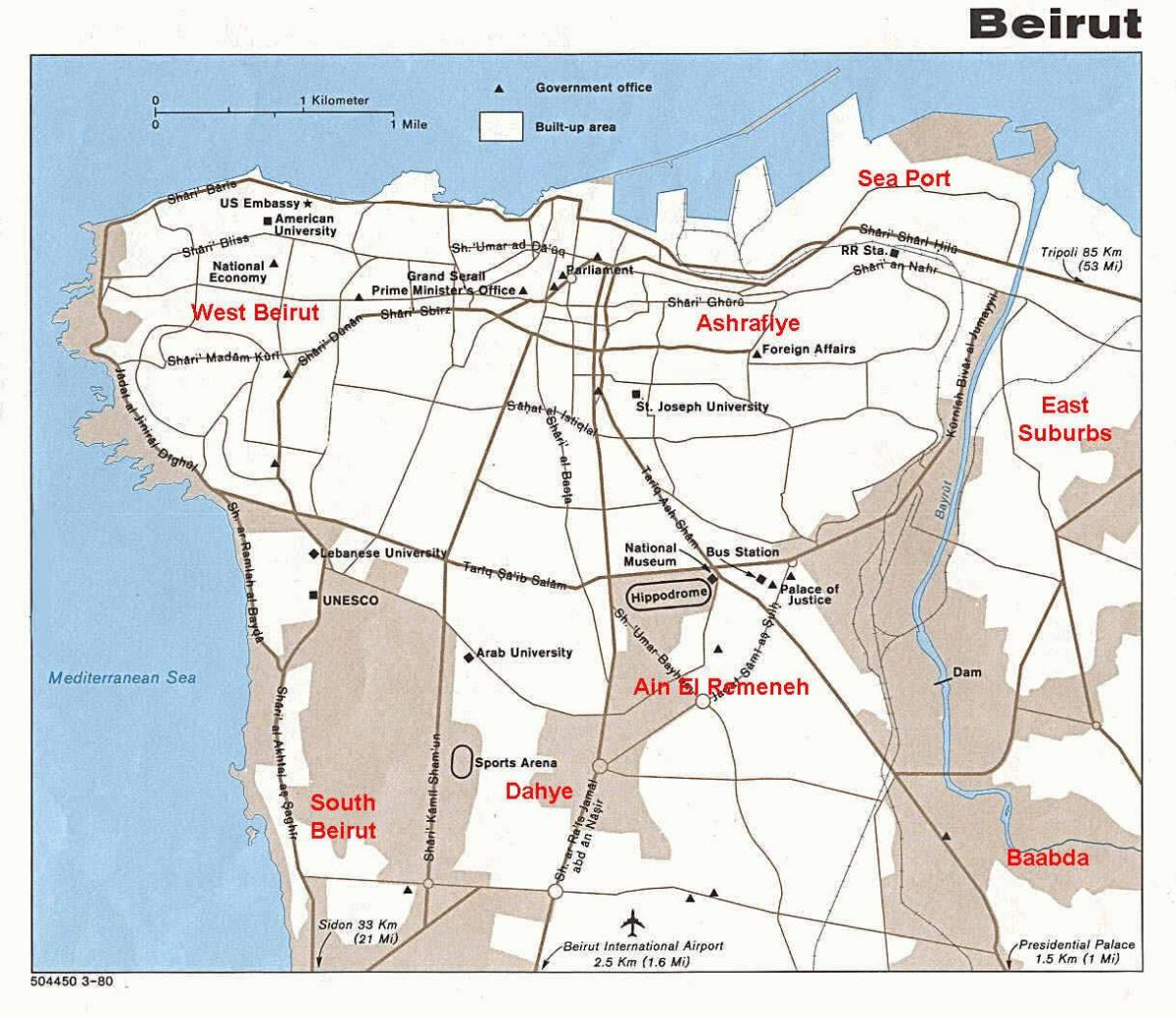 map of beirut Lebanon