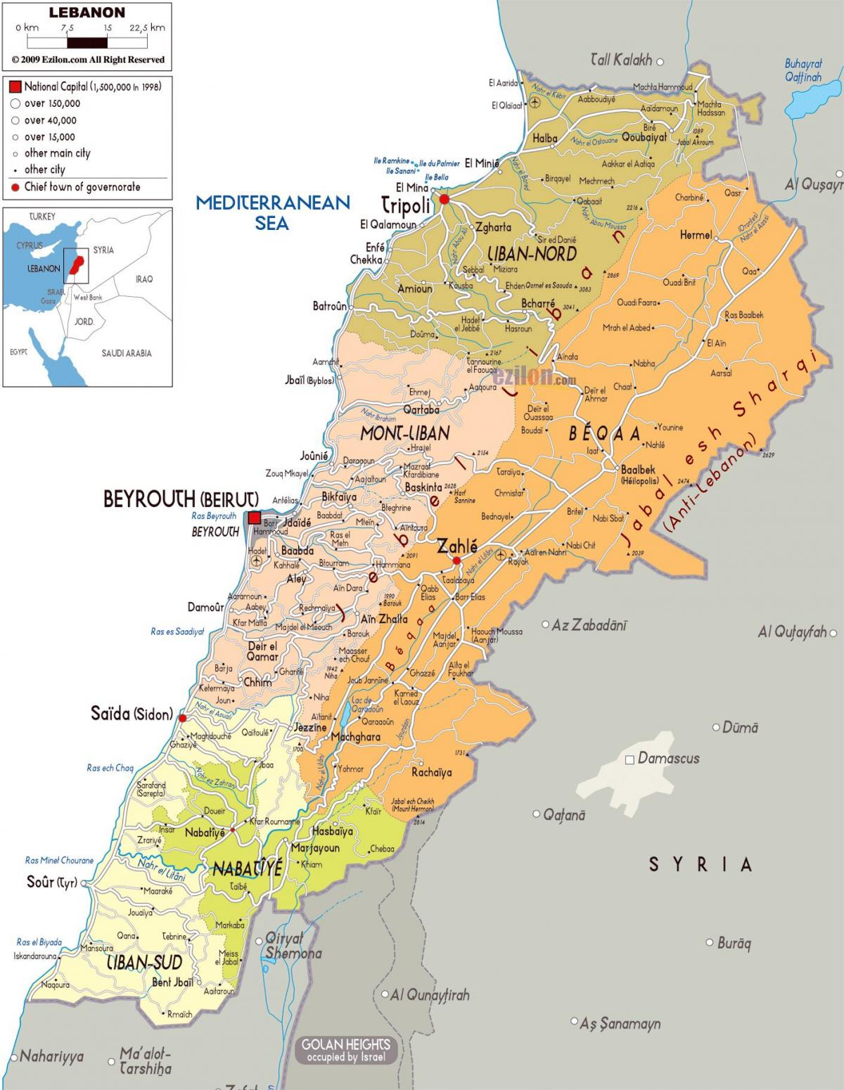 Lebanon map detailed