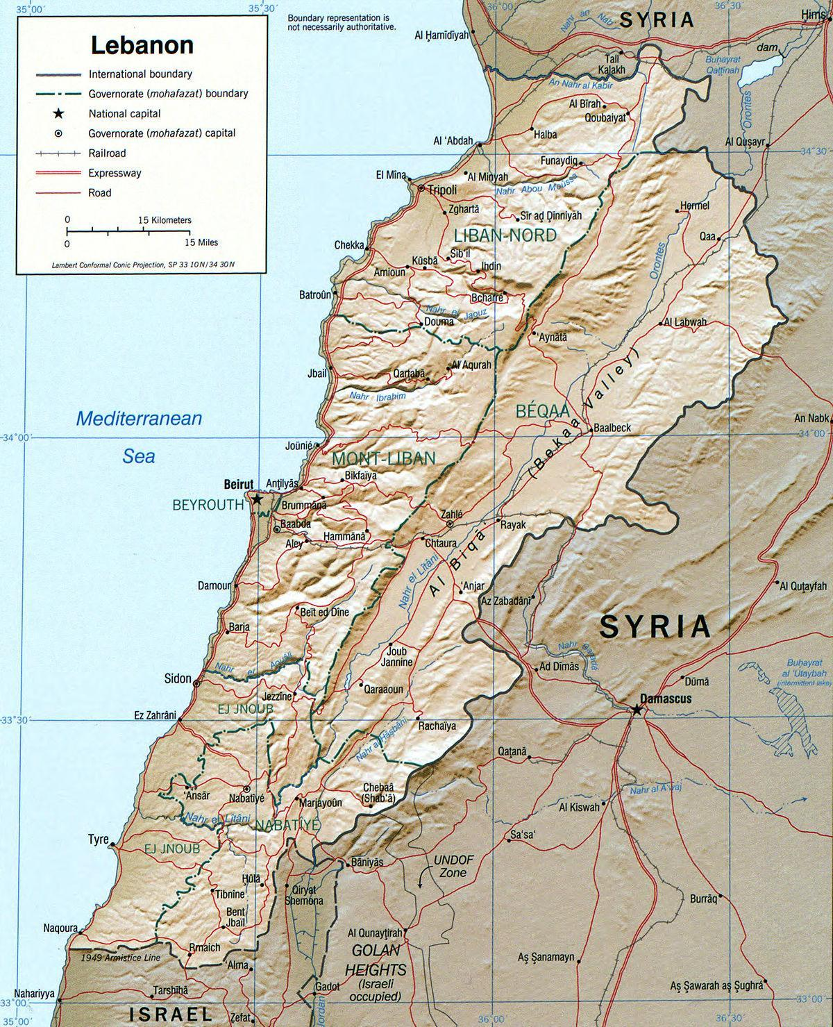 map of Lebanon geography