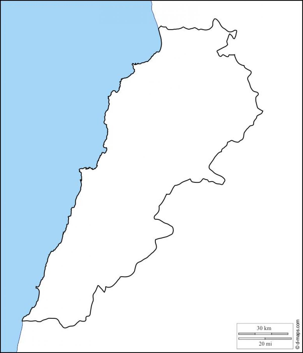 Lebanon Map Outline Blank Map Of Lebanon Western Asia Asia