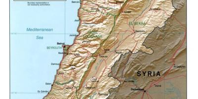 Map of Lebanon topographic